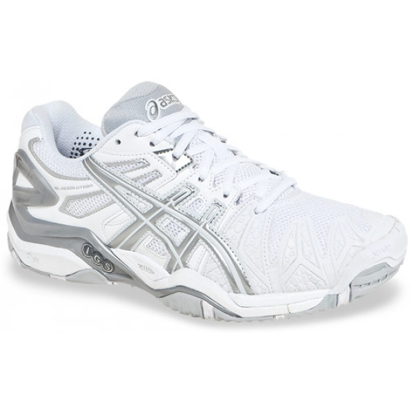 Asics Women's Gel Resolution 5 Shoes (White/Silver)