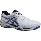 Asics Men's Gel Resolution 6 Clay Tennis Shoes (White/ Blue/ Silver) - Asics Gel-Resolution Tennis Shoes