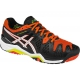 Asics Men's Gel Resolution 6 Shoes (Black/ White/ Orange) - Asics Tennis Shoes