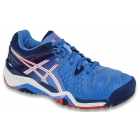 Asics Women's Gel Resolution 6 Shoes (Blue/White/Hibiscus) - Asics Gel-Resolution Tennis Shoes