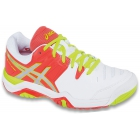 Asics Women's Challenger 10 Tennis Shoes (White/ Coral/ Green) - Women's Tennis Shoes