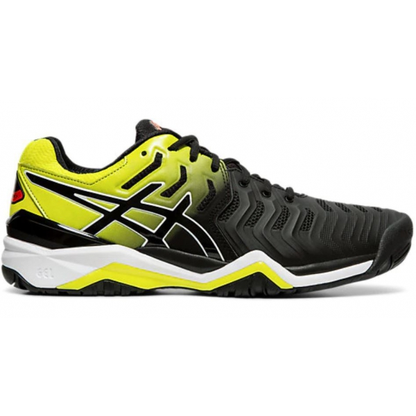 Asics Men's Gel Resolution 7 Tennis Shoes (Black/Sour Yuzu)