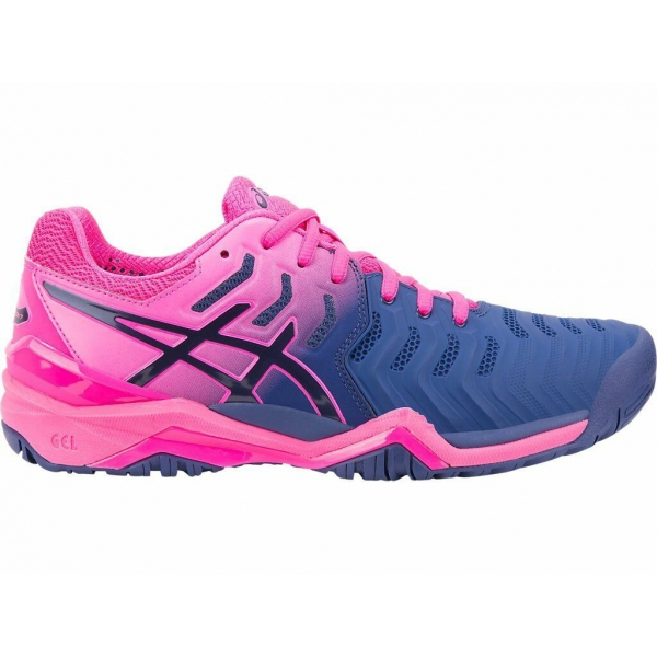 Asics Women's Gel Resolution 7 Tennis Shoes (Blue/Pink)