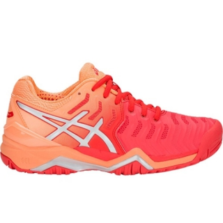 Asics Women's Gel Resolution 7 Tennis Shoes (Red/Silver)