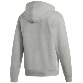 Adidas Men's Must Haves 3-Stripes Tennis Hoodie (Medium Grey Heather/White)