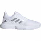 Adidas Junior CourtJam xJ Tennis Shoes (White/Silver Metallic/Tech Ink) - Adidas Junior Tennis