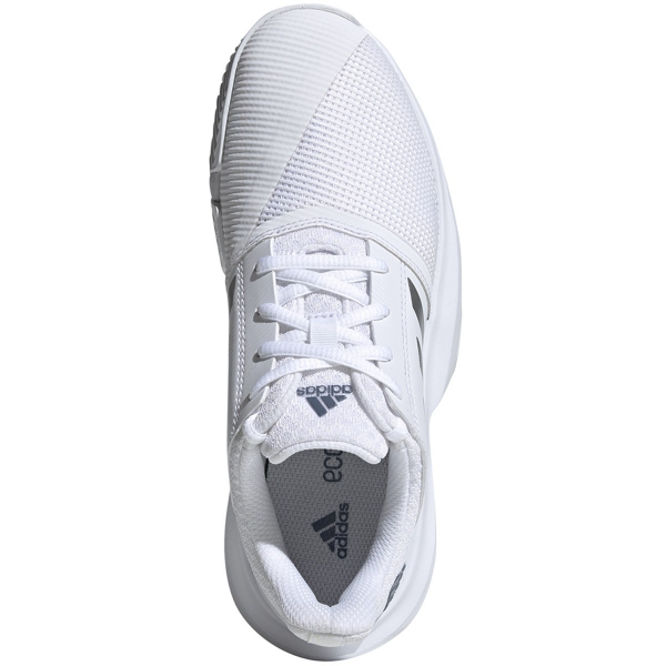 Adidas Junior CourtJam xJ Tennis Shoes (White/Silver Metallic/Tech Ink)