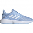 Adidas Junior CourtJam xJ Tennis Shoes (Glow Blue/White/Silver Metallic) - Adidas Junior Tennis