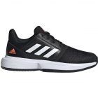 Adidas Junior CourtJam xJ Tennis Shoes (Core Black/White/Hi-Res Coral) - Junior 10 & Under Tennis Equipment for Kids