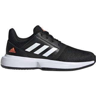 Adidas Junior CourtJam xJ Tennis Shoes (Core Black/White/Hi-Res Coral)