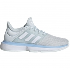 Adidas Junior SoleCourt xJ Tennis Shoes (Blue Tint/White/Glow Blue) - Junior 10 & Under Tennis Equipment for Kids