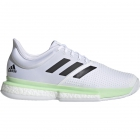 Adidas Men's SoleCourt Boost Tennis Shoes (White/Black/Glow Green) - 6-Month Warranty Shoes