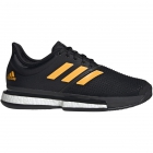 Adidas Men's SoleCourt Boost Tennis Shoes (Black/Flash Orange/Carbon) - 6-Month Warranty Shoes