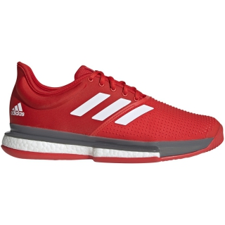 Adidas Men's SoleCourt Boost Tennis Shoes (Active Red/White/Grey)