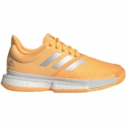 Adidas Women's SoleCourt Boost Tennis Shoes (Flash Orange/White/Grey One) - 6-Month Warranty Shoes
