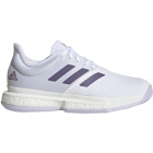Adidas Women's SoleCourt Tennis Shoes (White/Tech Purple/Legacy Purple) - 6-Month Warranty Shoes