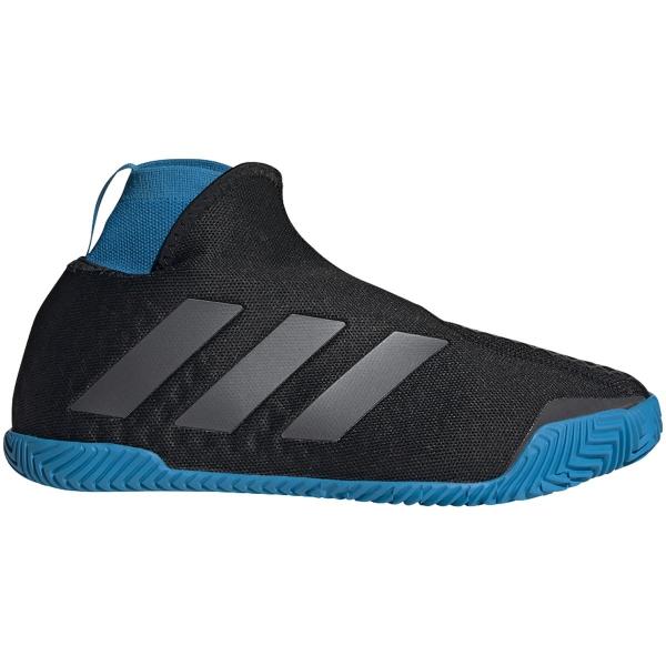 Adidas Women's Stycon Laceless Clay Court Tennis Shoe (Core Black/Night Metallic/Sharp Blue)