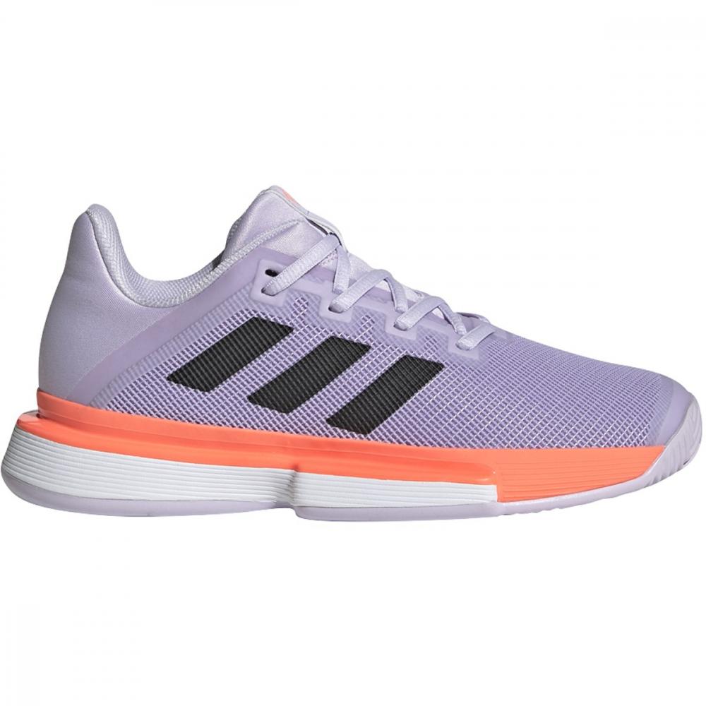 Adidas Women's SoleMatch Bounce Tennis Shoes (Purple Tint/Core Black/Signal Coral)