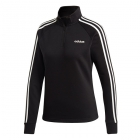 Adidas Women's 1/4 Zip Fleece Longsleeve Tennis Warmup Top (Black/White) - Women's Tennis Apparel