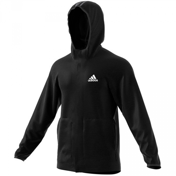 Adidas Men's Ti Full Zip Tennis Hoodie (Black/Heather White)