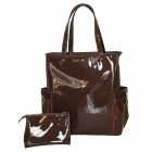 40 Love Courture Espresso Patent Emma Tote - Designer Tennis Bags - Luxury Fabrics and Ultimate Functionality