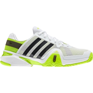 Adidas Men's Barricade 8 Tennis Shoes (White/ Black/ Lime)