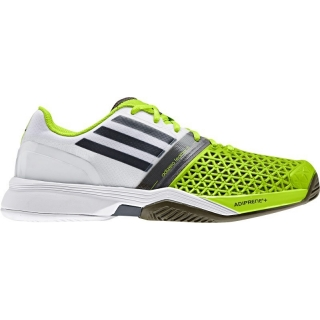 Adidas Men's CC adiZero Feather III Tennis Shoes (White/ Silver/ Lime)