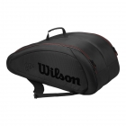 Wilson Federer Team 12 Pack Tennis Bag (Black w/ Red) - Wilson Federer Tennis Bags