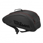 Wilson Federer Team 6 Pack Tennis Bag (Black w/ Red) - 6 Racquet Tennis Bags