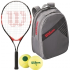 Wilson Roger Federer Jr. Racquet, Grey Backpack, Green Dot Balls - Junior Tennis Racquet + Bag + Ball Bundles