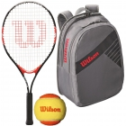 Wilson Roger Federer Jr. Racquet, Grey Backpack, Orange Balls - Junior Tennis Racquet + Bag + Ball Bundles