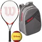 Wilson Roger Federer Jr. Racquet, Grey Backpack, Red Felt Balls - Junior Tennis Racquet + Bag + Ball Bundles