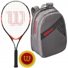 Wilson Roger Federer Jr. Racquet, Grey Backpack, Red Foam Balls - Junior Tennis Racquet + Bag + Ball Bundles