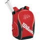 Wilson Federer Team Collection Premium Back Pack Tennis Bag (Red/ Black) - Federer