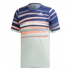Adidas Men's FreeLift HEAT.RDY Tennis Tee (Dash Green/Tech Indigo) - Adidas Men's Tennis Apparel