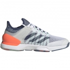 Adidas Men's Adizero Ubersonic 2.0 Tennis Shoes (White/Tech Indigo/Signal Coral) - Clearance Sale. Up to 75% off Premium Tennis Gear