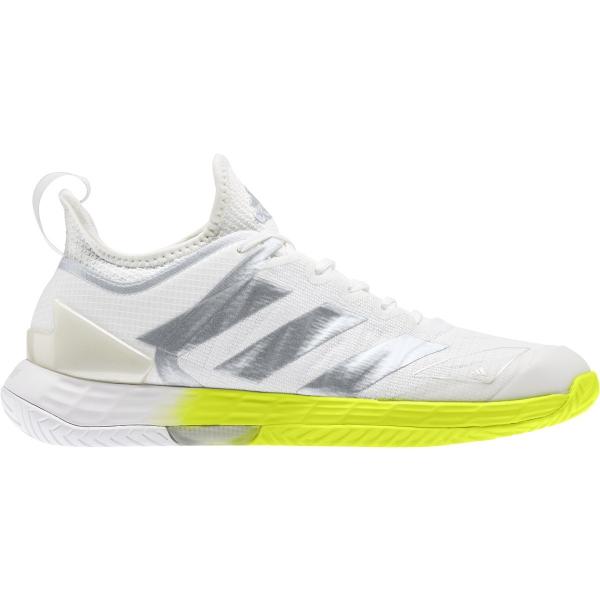 Adidas Women's Adizero Ubersonic 4 Tennis Shoes (White/Silver Metallic/Solar Yellow)