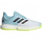 Adidas Men's SoleCourt Primeblue Tennis Shoes (White/Core Black/Solar Yellow) -