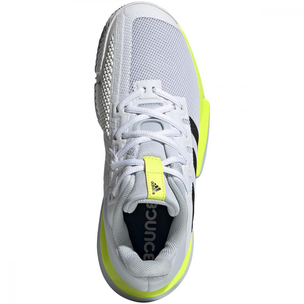 Adidas Women's SoleMatch Bounce Tennis Shoe (White/Core Black/Solar Yellow)