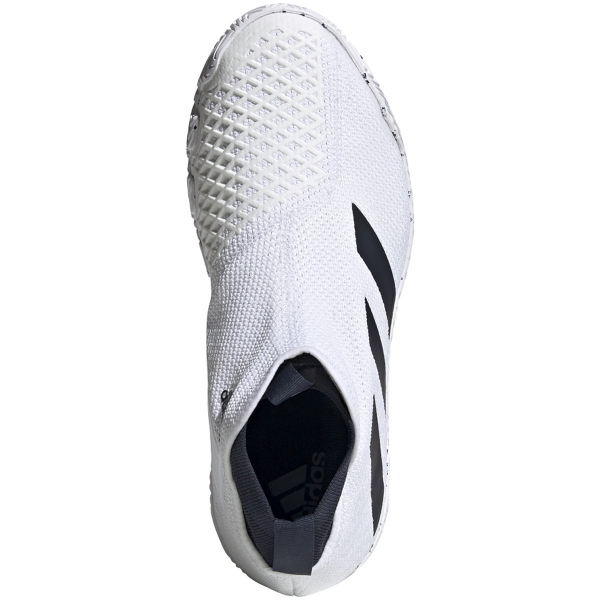 Adidas Men's Stycon Laceless Hard Court Tennis Shoes (White/Legend Ink)