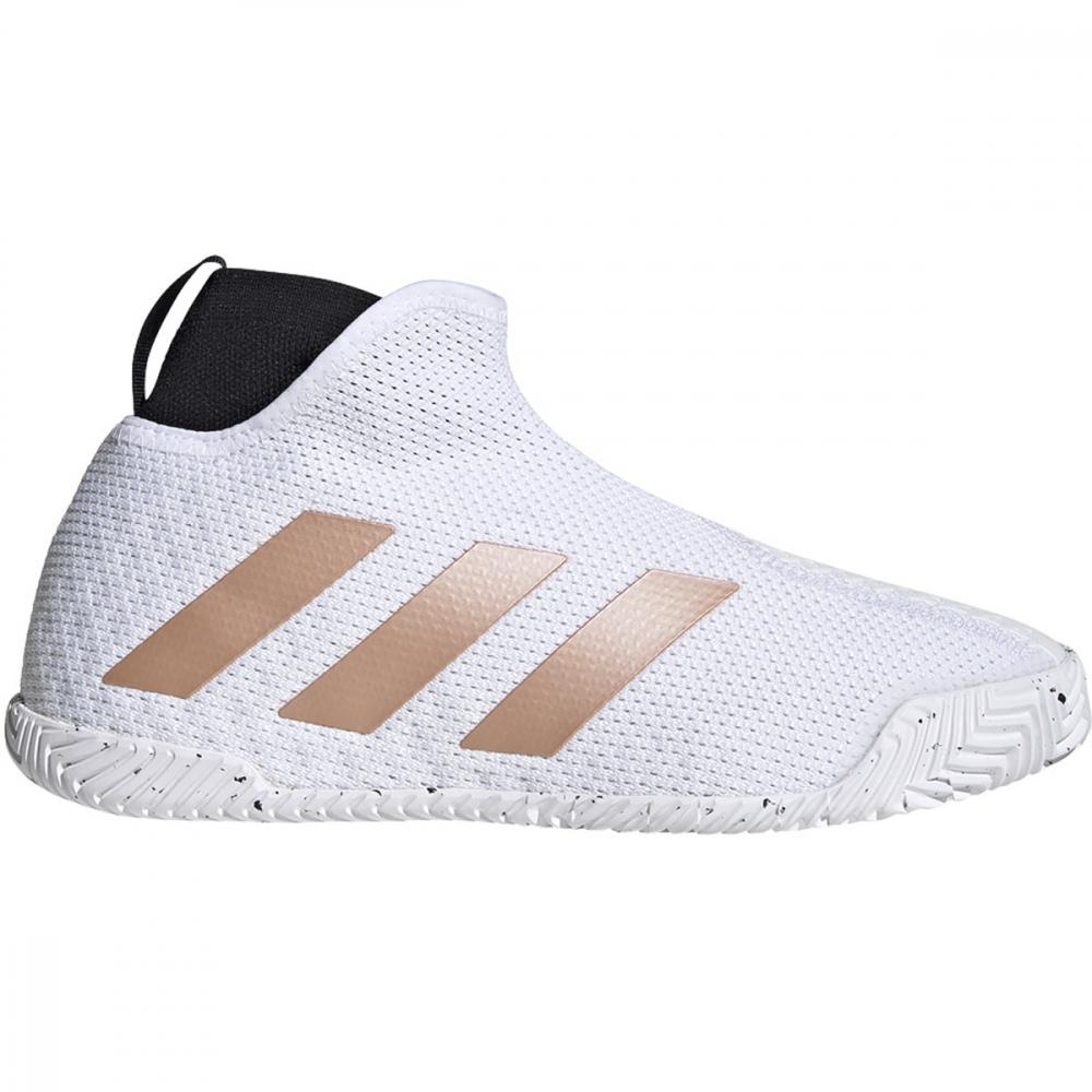 Adidas Women's Stycon Laceless Hard Court Tennis Shoes (Cloud White/Copper Metallic/Core Black)