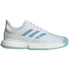 Adidas Men's SoleCourt Boost M x Parley Tennis Shoes (White/Vapour Blue/Blue Spirit) - Adidas x Parley Ocean Plastic Tennis Apparel & Shoes