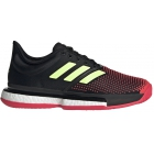 Adidas Women's SoleCourt Boost Tennis Shoe (Black/Yellow/Shock Red) - Adidas Boost Tennis Shoes