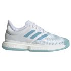 Adidas Women's SoleCourt Boost x Parley Tennis Shoes (White/Vapor Blue/Blue Spirit) - Adidas x Parley Ocean Plastic Tennis Apparel & Shoes