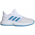 Adidas Women's GameCourt Wide Tennis Shoes (White/Shock Cyan/Matte Silver) - Adidas GameCourt Tennis Shoes