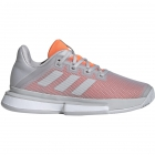 Adidas Women's SoleMatch Bounce Tennis Shoes (Light Grey Heather/Hi-Res Coral) -