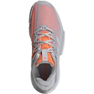 Adidas Women's SoleMatch Bounce Tennis Shoes (Light Grey Heather/Hi-Res Coral)