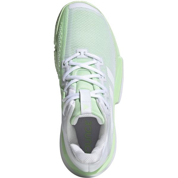 Adidas Women's SoleMatch Bounce Tennis Shoes (White/Glow Green)