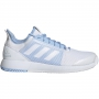 Adidas Women's Defiant Bounce 2 Tennis Shoe (White/Glow Blue)