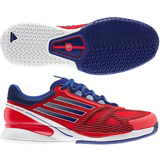 huge selection of 02f98 8d672 Adidas Mens CC adiZero Feather II Tennis Shoes (Blue White Red)